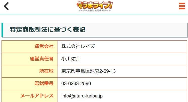 競馬予想サイト「投稿!!うまライブ!」の基本情報