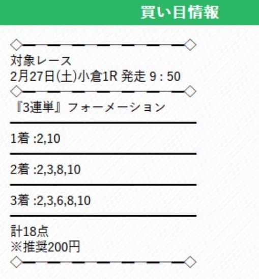 有料予想を検証①2021年2月27日小倉1R
