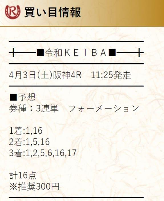 有料予想検証①:2021年4月3日阪神4R
