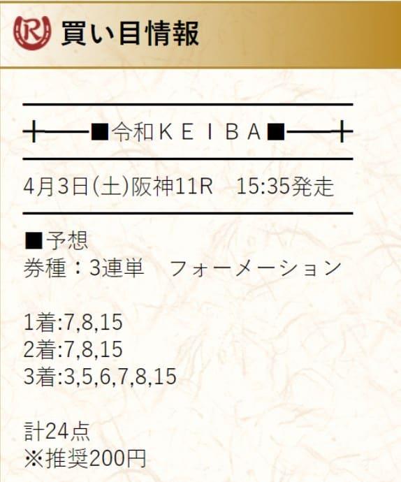 有料予想検証②:2021年4月3日阪神11R