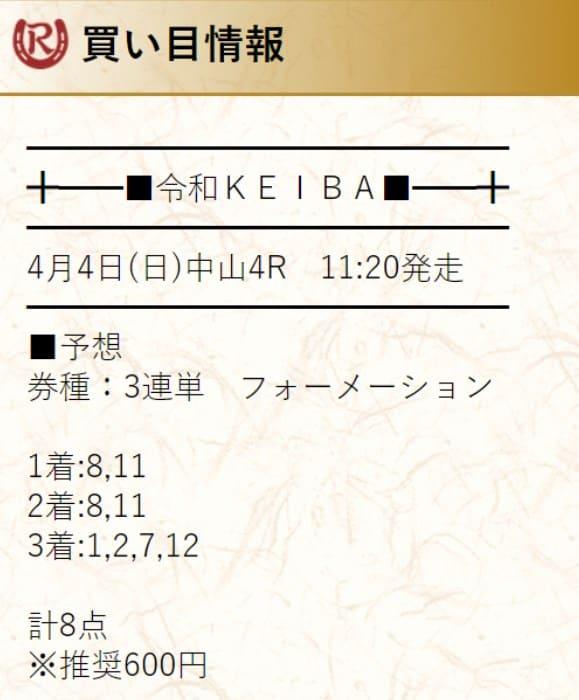 有料予想検証③:2021年4月4日中山4R