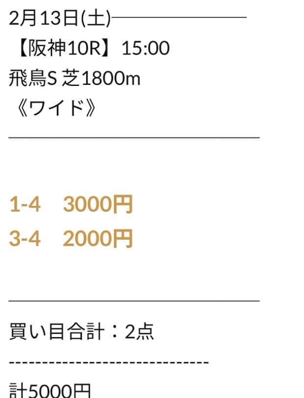 にのまえの無料予想2021年2月13日阪神10R