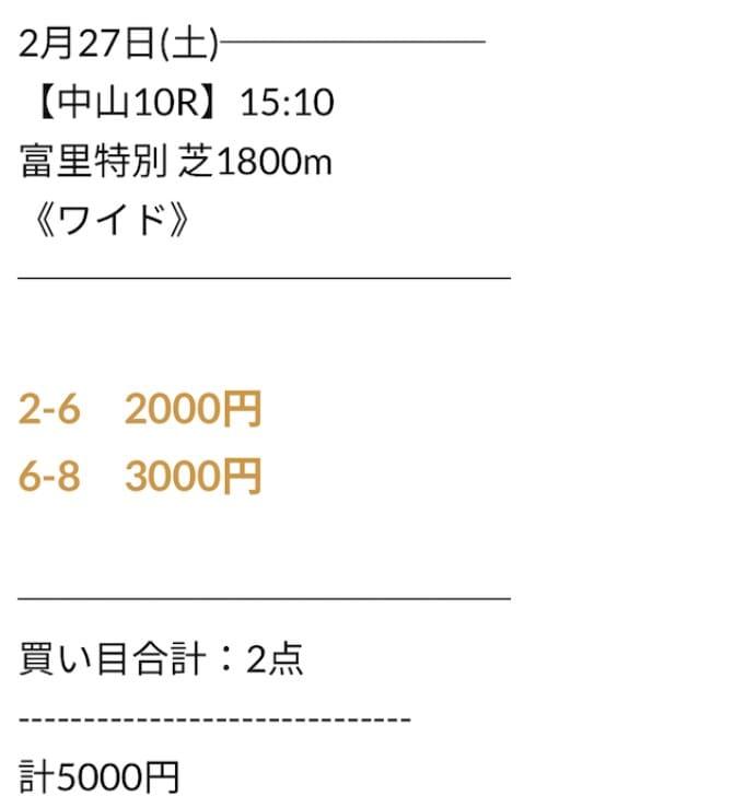 にのまえの無料予想2021年2月27日中山10R