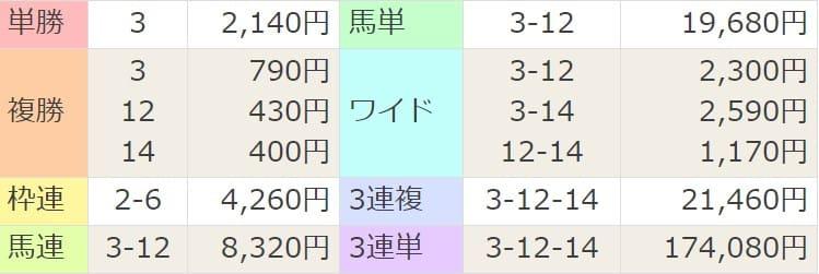 2021年3月28日中山11R結果