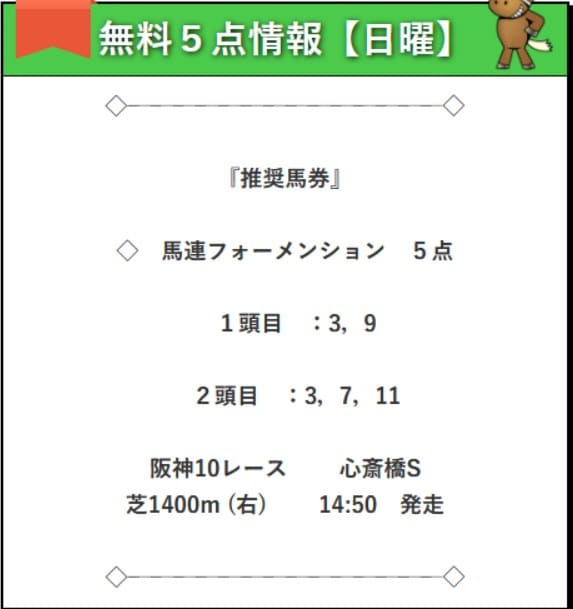 無料予想検証2レース目:心斎橋S