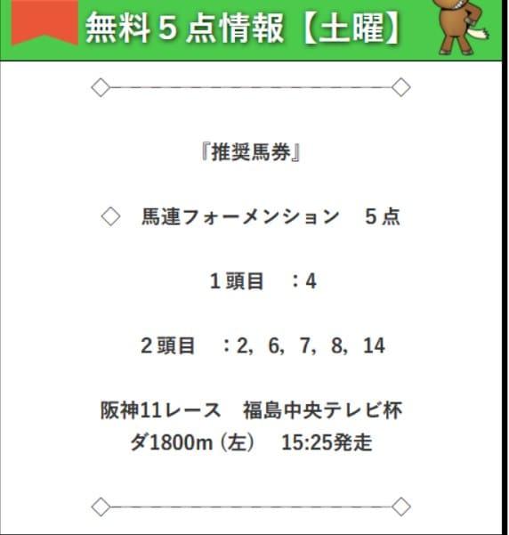 無料予想検証3レース目:福島中央テレビ杯